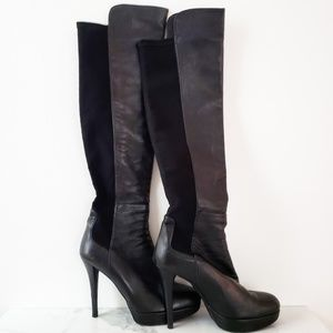 Stuart Weitzman Over-the-Knee Stiletto Black Boots
